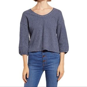 Madewell Bubble Sleeve Blue And White Stripe XL